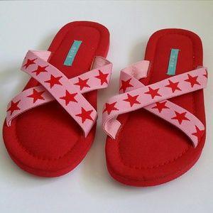 Mella Sandals Red & Pink w/stars Sz 10 NWOT